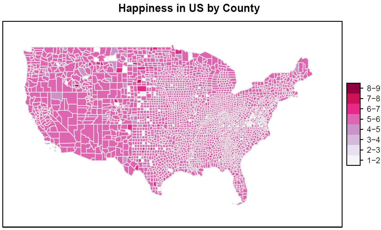 County happiness, no thresholding